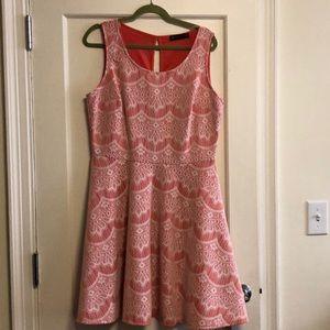 Salmon and white dress